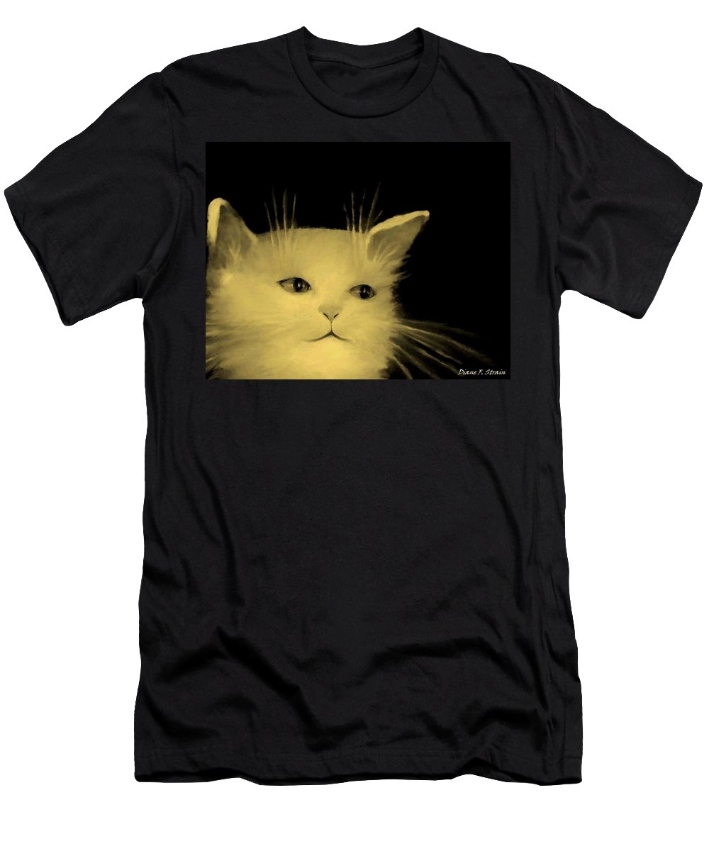 Diane Strain Men's T-Shirt (Athletic Fit) featuring the painting Contemplative Cat  No.3 by Diane Strain