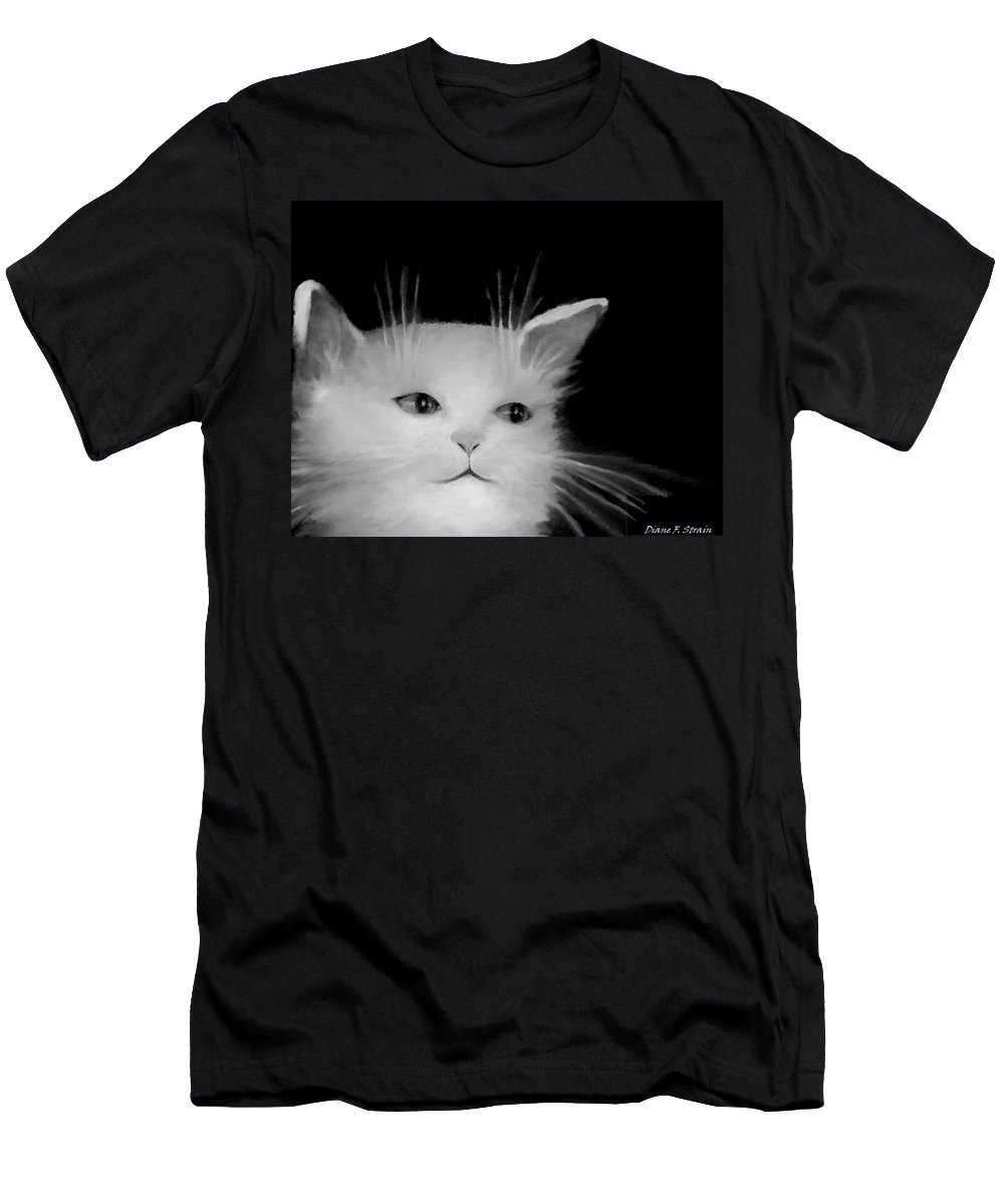 Diane Strain Men's T-Shirt (Athletic Fit) featuring the painting Contemplative Cat  No.4 by Diane Strain
