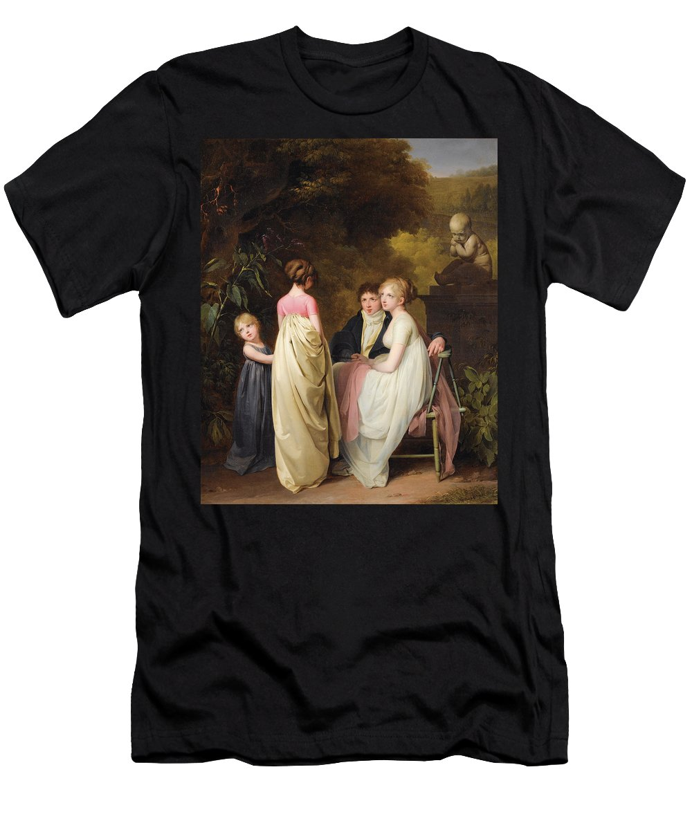 Louis Leopold Boilly Men's T-Shirt (Athletic Fit) featuring the painting Conversation In A Park by Louis Leopold Boilly