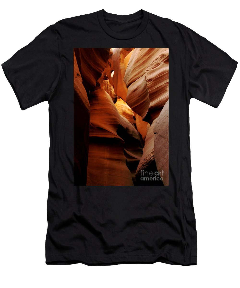Antelope Canyon Men's T-Shirt (Athletic Fit) featuring the photograph Convolusions by Kathy McClure