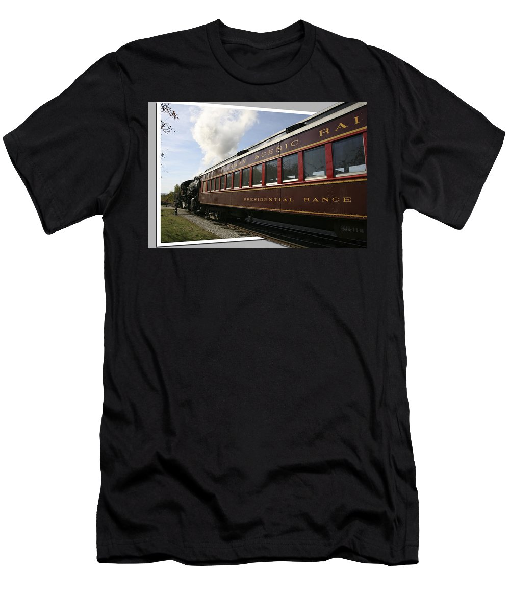 Train Photographs Photographs Men's T-Shirt (Athletic Fit) featuring the photograph Conway Scenic Railway by John Clark