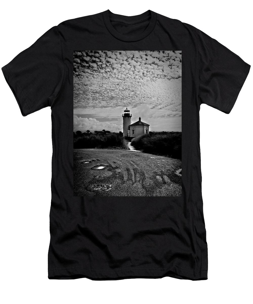 Coquille River Men's T-Shirt (Athletic Fit) featuring the photograph Coquille River Lighthouse by Melanie Lankford Photography