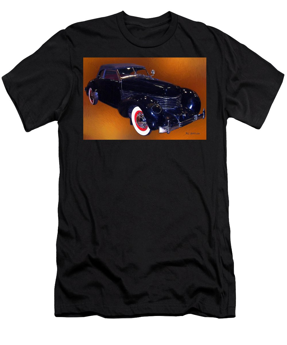 Automobile Men's T-Shirt (Athletic Fit) featuring the painting Cord Phaeton 1936 by RC DeWinter