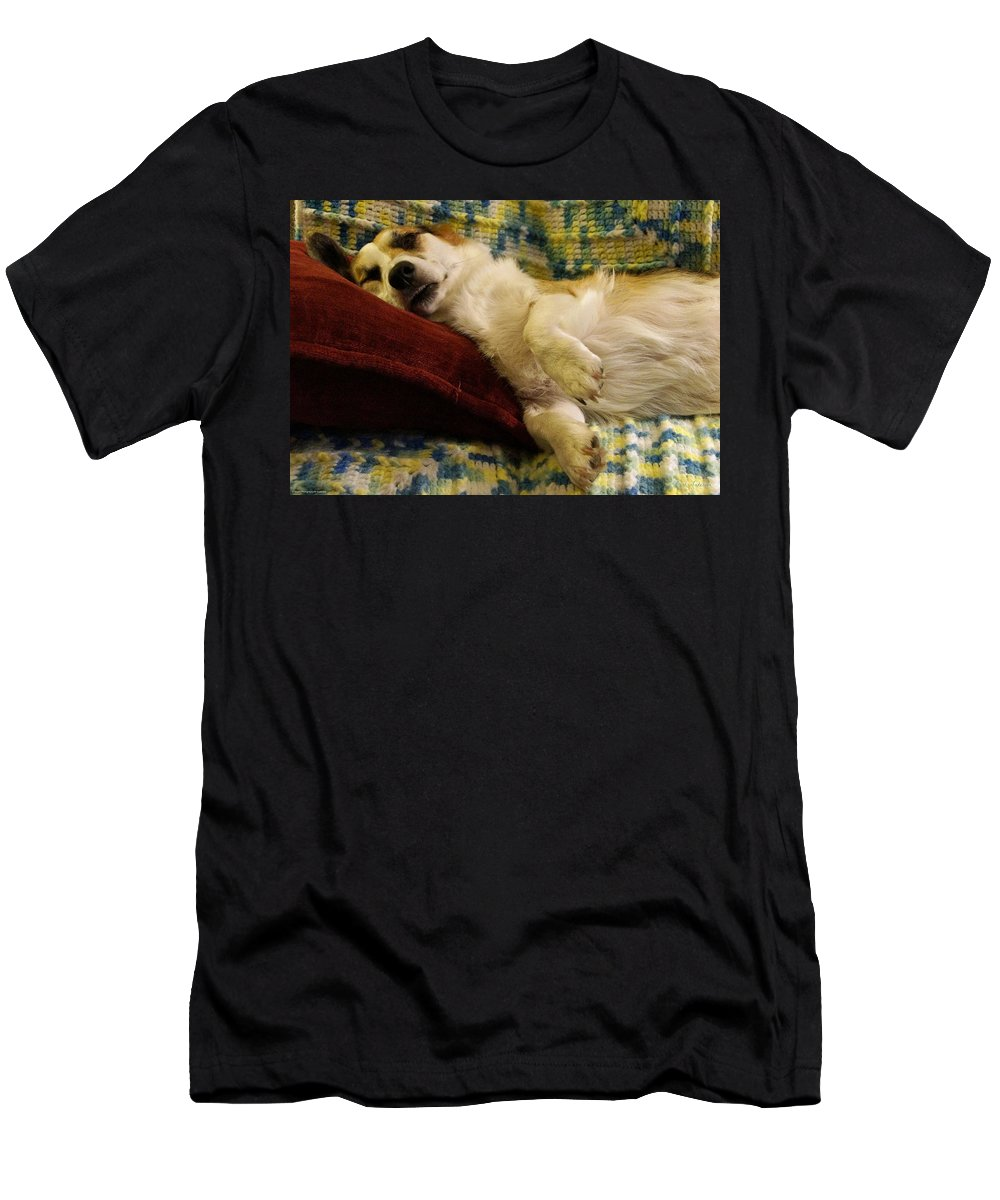 Corgi Men's T-Shirt (Athletic Fit) featuring the photograph Corgi Asleep On The Pillow by Mick Anderson