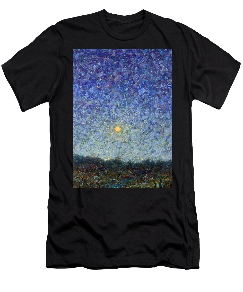 Cornbread Moon Men's T-Shirt (Athletic Fit) featuring the painting Cornbread Moon by James W Johnson