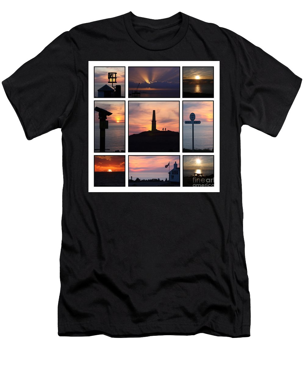 Cornwall Men's T-Shirt (Athletic Fit) featuring the photograph Cornish Sunsets by Terri Waters