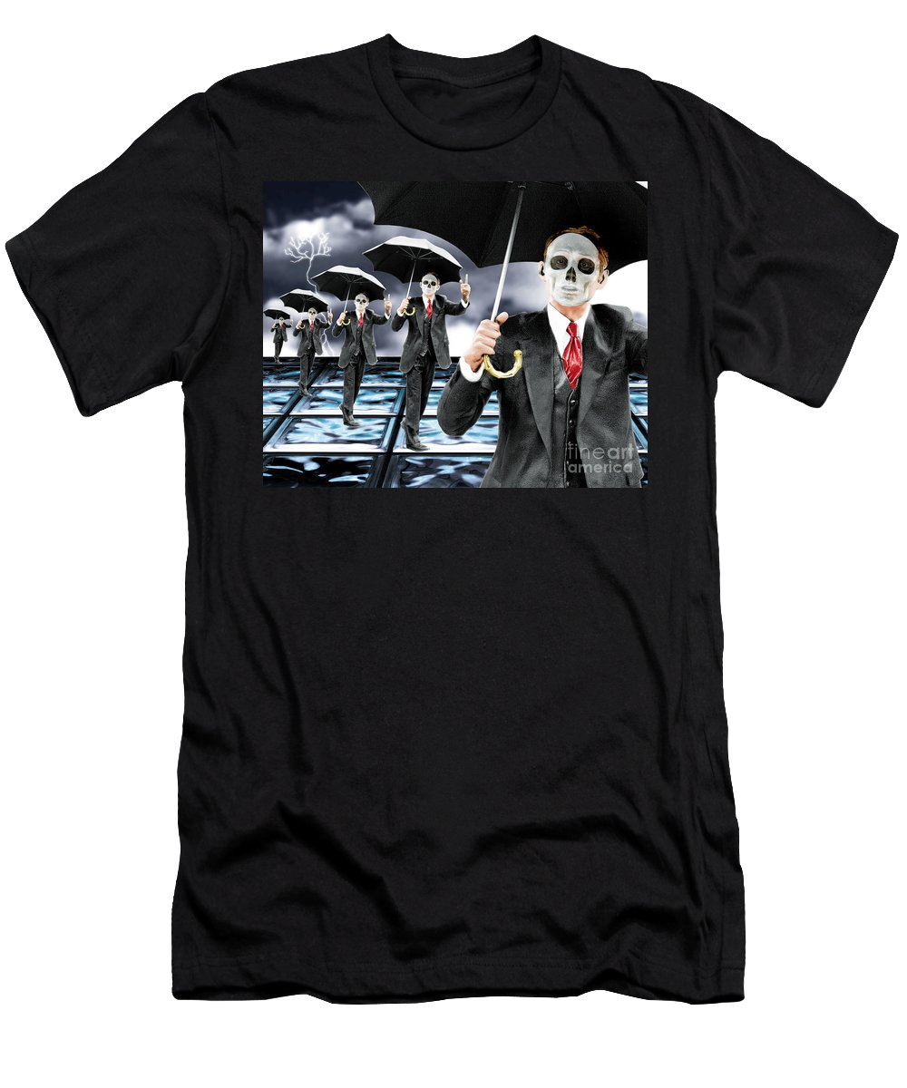 Matrix Men's T-Shirt (Athletic Fit) featuring the digital art Corporate Matrix Clones by Keith Dillon