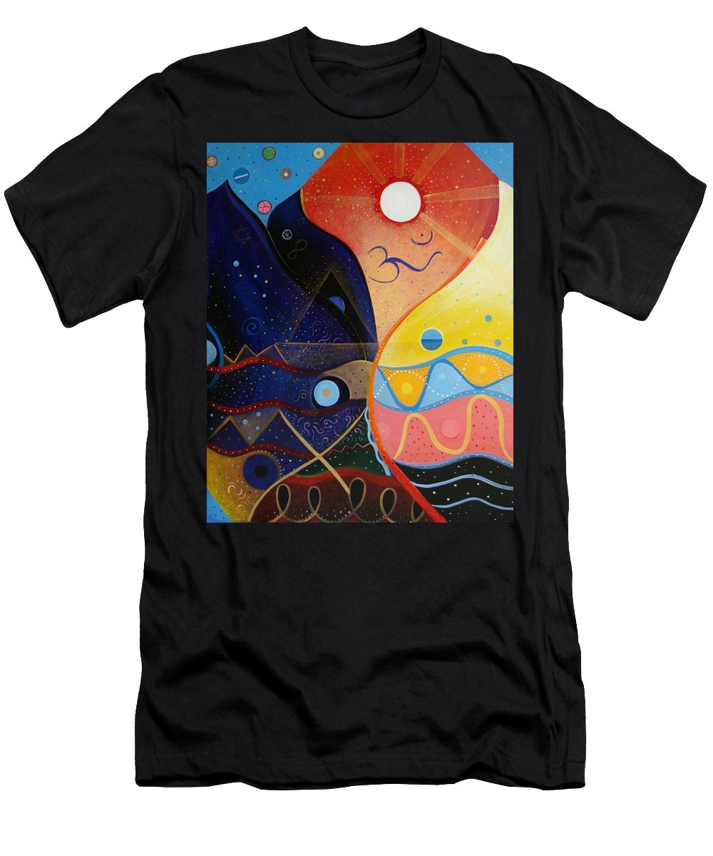 Value Men's T-Shirt (Athletic Fit) featuring the painting Cosmic Carnival Vlll Aka Sacred And Profane by Helena Tiainen