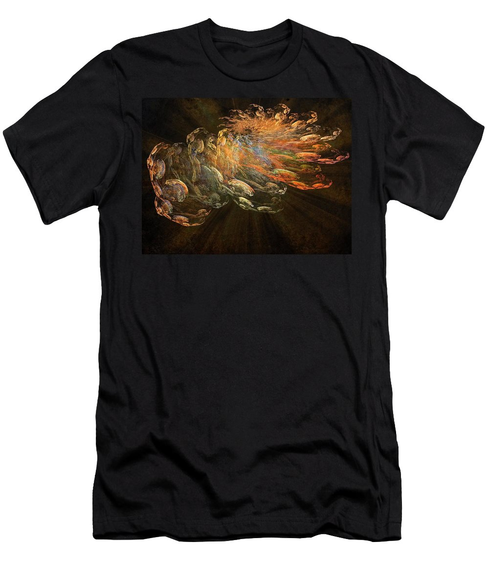 Cosmic Dust Men's T-Shirt (Athletic Fit) featuring the painting Cosmic Dust And Light Beauty Fine Fractal Art by Georgeta Blanaru