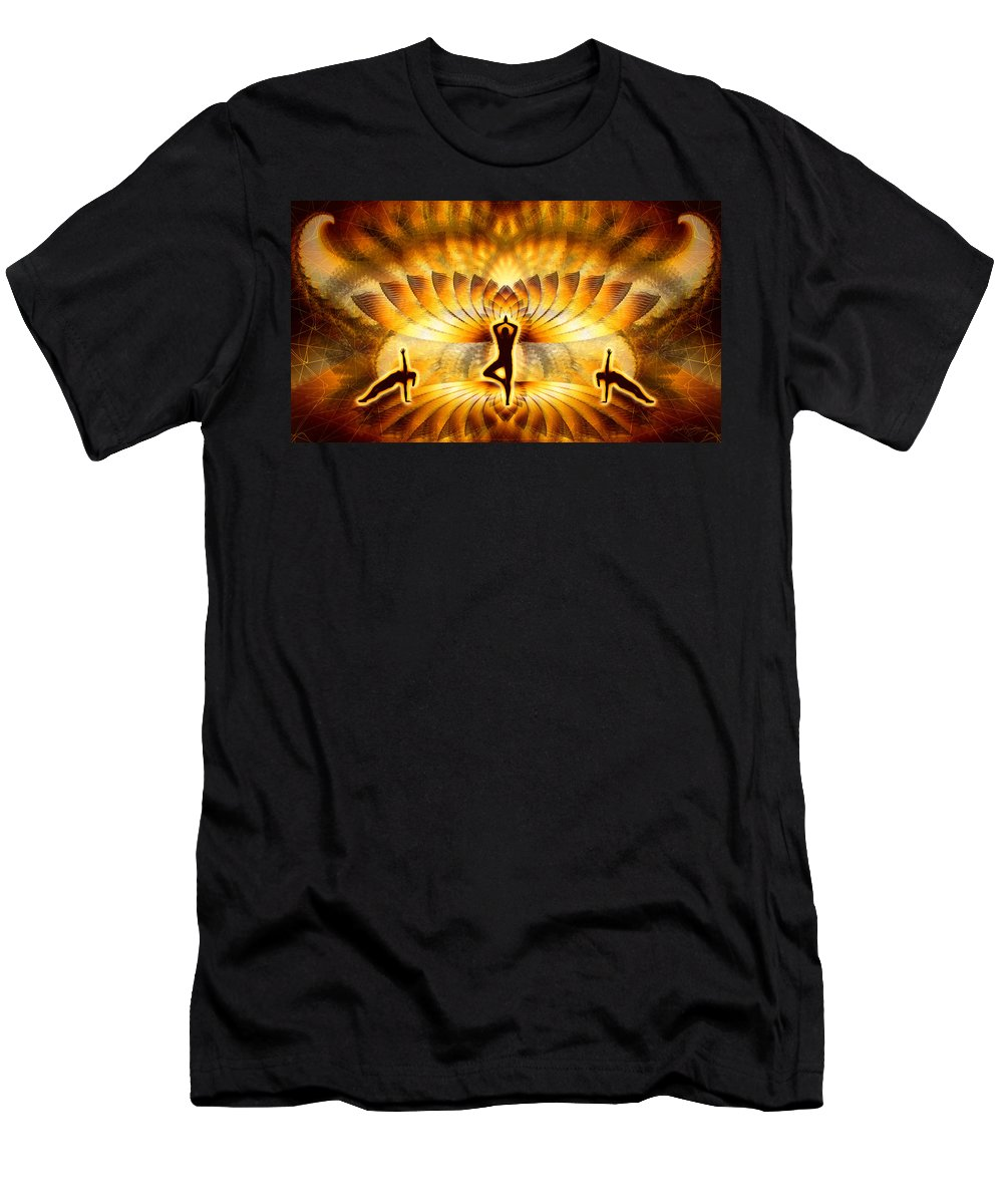 Cosmic Spiral Ascension Men's T-Shirt (Athletic Fit) featuring the digital art Cosmic Spiral Ascension 23 by Derek Gedney