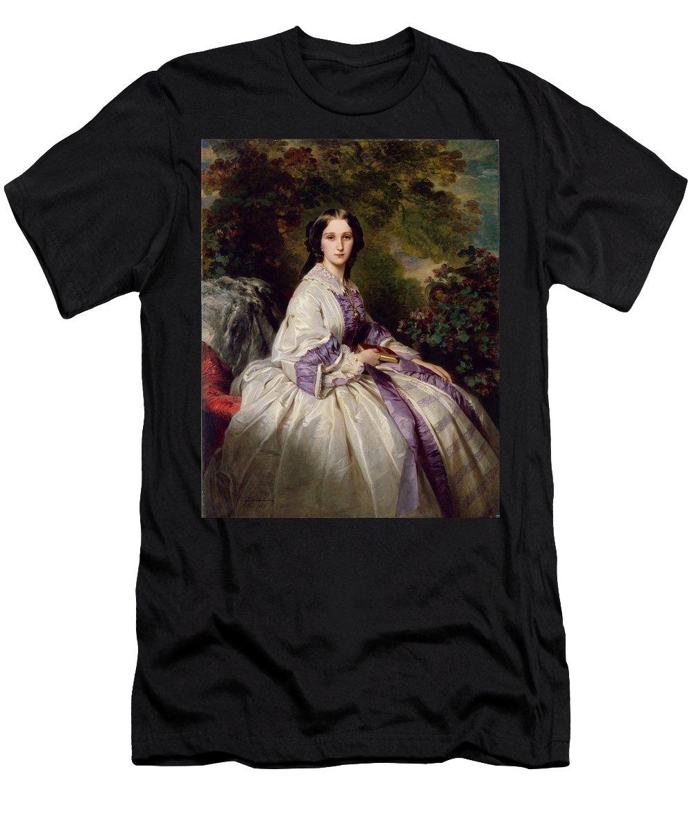 Franz Xaver Winterhalter Men's T-Shirt (Athletic Fit) featuring the painting Countess Alexander Nikolaevitch Lamsdorff. Maria Ivanovna Beck by Franz Xaver Winterhalter
