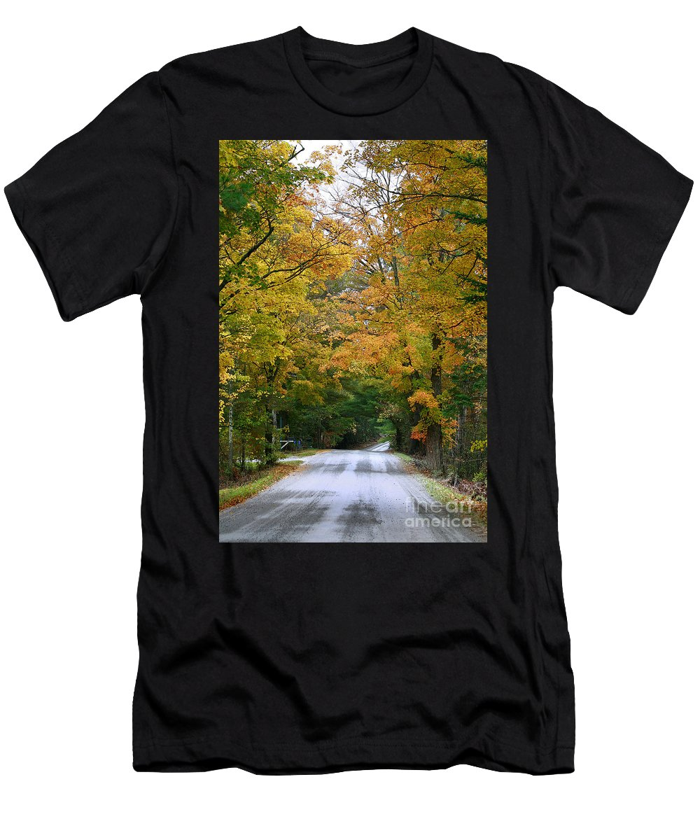Fall Men's T-Shirt (Athletic Fit) featuring the photograph Country Road Fall Vermont by Deborah Benoit
