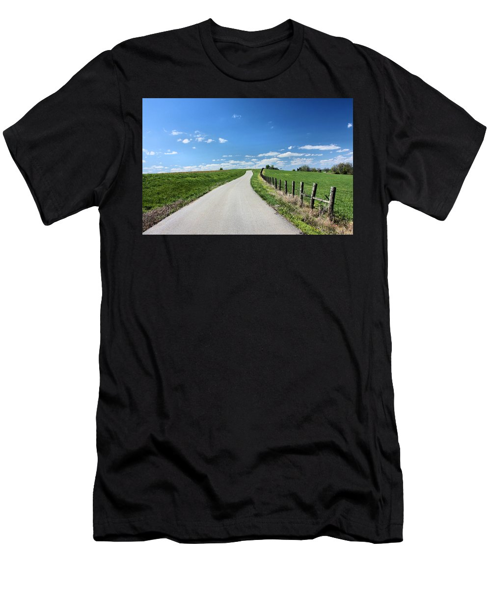 Country Road Men's T-Shirt (Athletic Fit) featuring the photograph Country Road by Kristin Elmquist