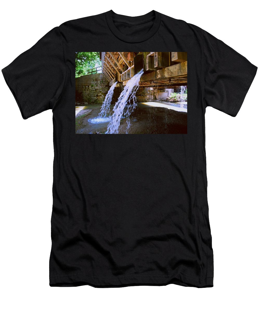 Indiana Men's T-Shirt (Athletic Fit) featuring the photograph Country Waterfall by Gary Wonning