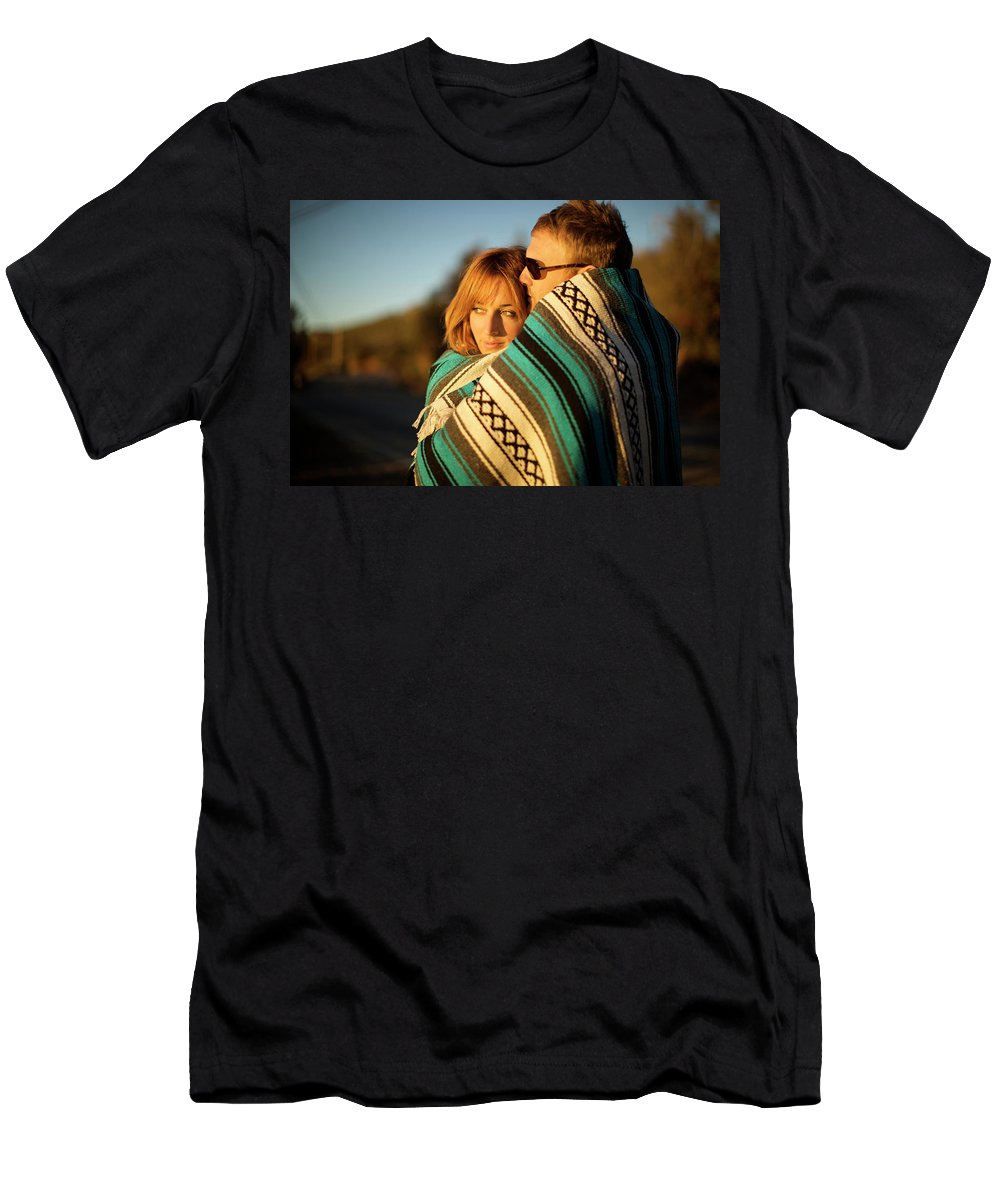 20s Men's T-Shirt (Athletic Fit) featuring the photograph Couple Wraps Themselves In A Blue by Priscilla Gragg