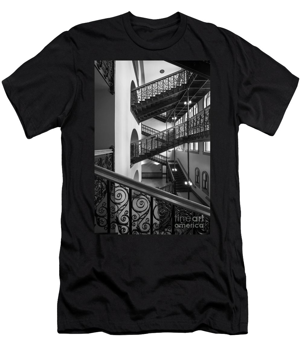 America Men's T-Shirt (Athletic Fit) featuring the photograph Courthouse Staircases by Inge Johnsson
