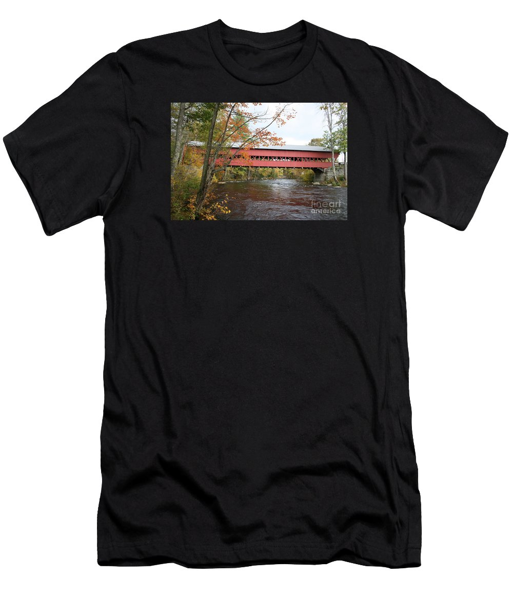 Covered Bridge Men's T-Shirt (Athletic Fit) featuring the photograph Covered Bridge Over Swift River by Christiane Schulze Art And Photography