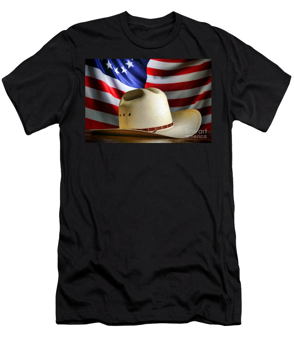 American Men's T-Shirt (Athletic Fit) featuring the photograph Cowboy Hat And American Flag by Olivier Le Queinec