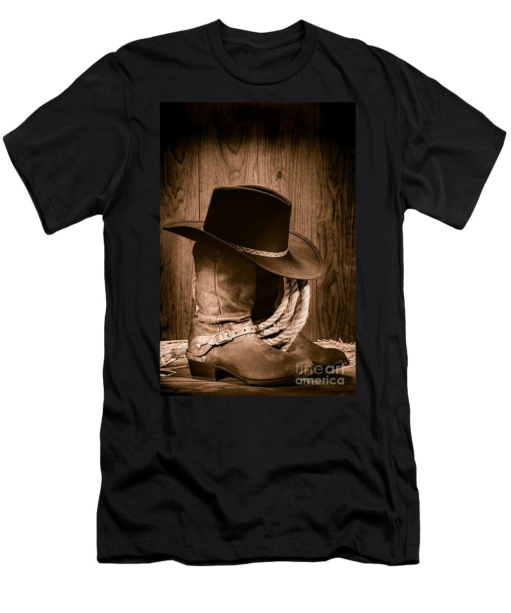 Boots Men's T-Shirt (Athletic Fit) featuring the photograph Cowboy Hat And Boots by Olivier Le Queinec