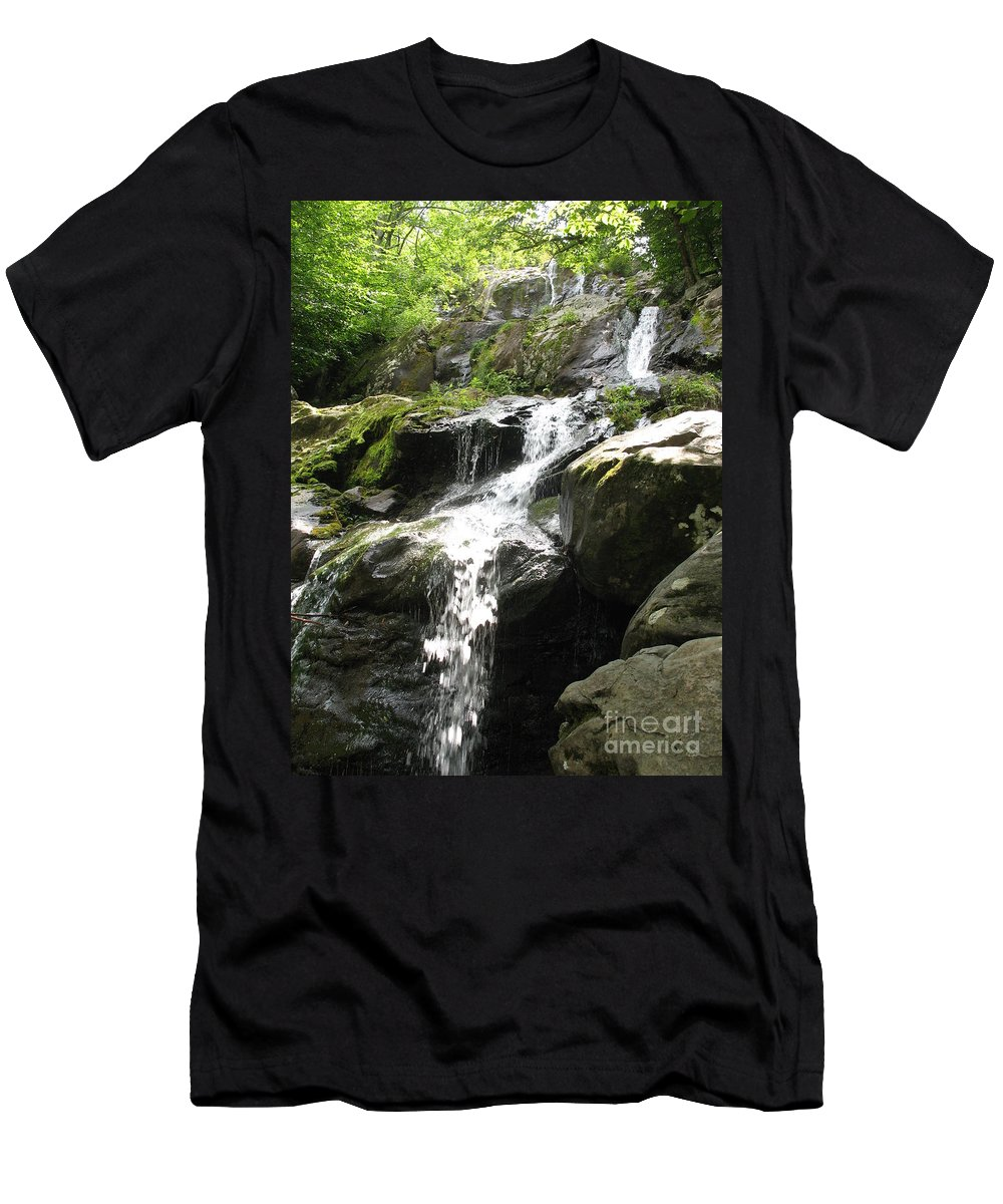 Waterfall Men's T-Shirt (Athletic Fit) featuring the photograph Crabtree Waterfall by Christiane Schulze Art And Photography