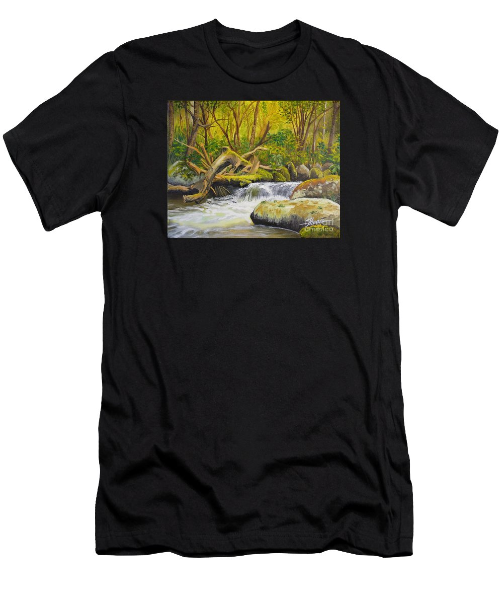 Landscape Men's T-Shirt (Athletic Fit) featuring the painting Creek In The Forest by Theon Guillory