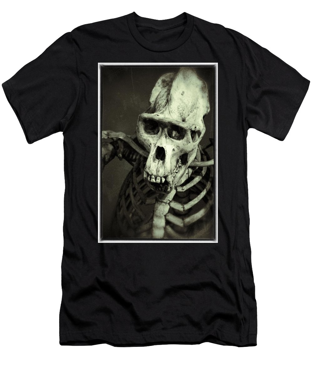 Black And White Men's T-Shirt (Athletic Fit) featuring the photograph Creepy Skull by For Ninety One Days