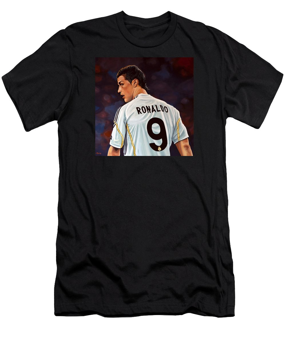 Real Madrid Men's T-Shirt (Athletic Fit) featuring the painting Cristiano Ronaldo by Paul Meijering