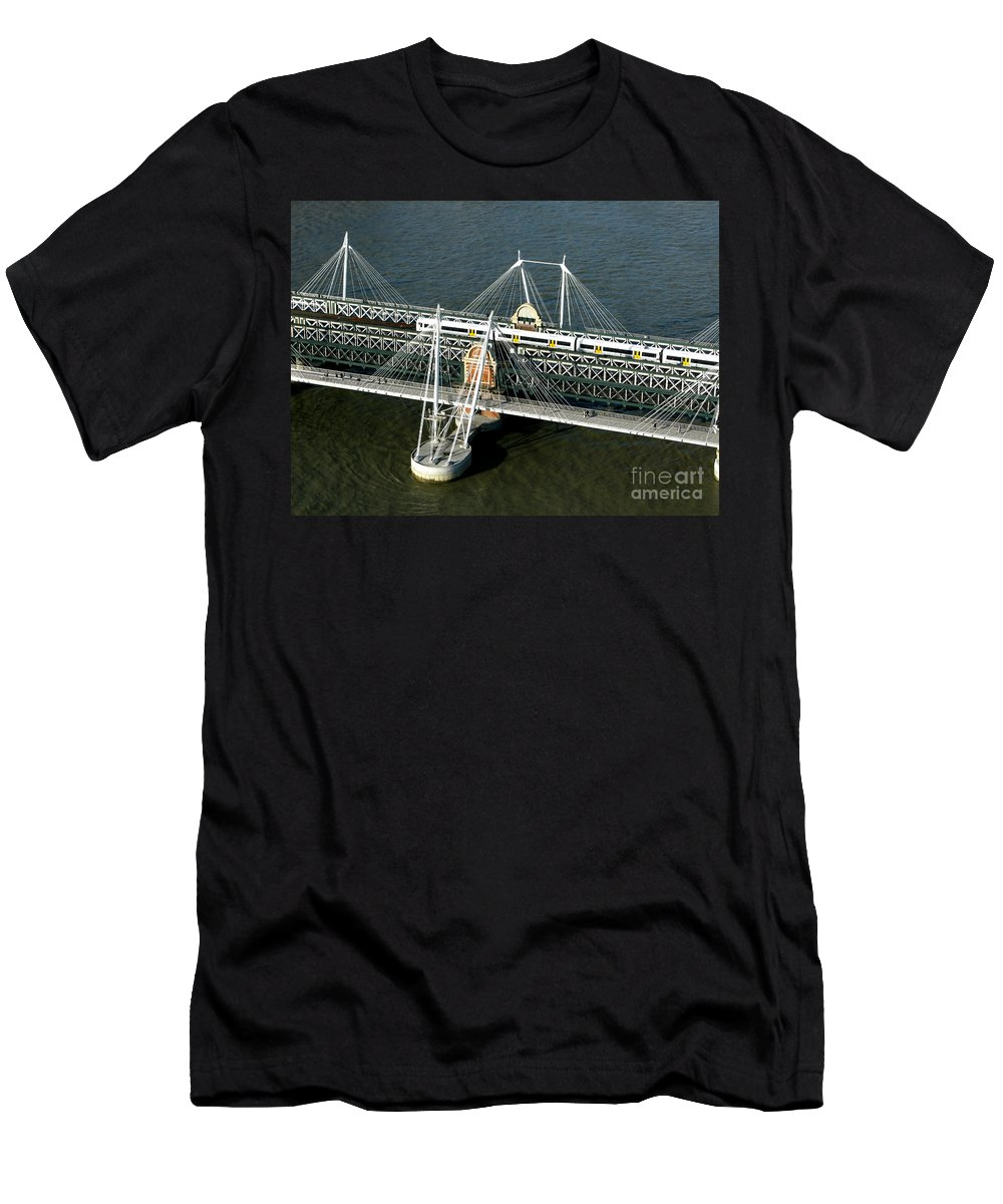 London Men's T-Shirt (Athletic Fit) featuring the photograph Crossing The Thames by Ann Horn