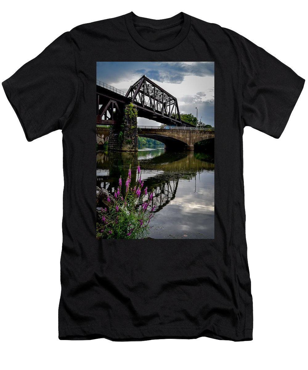 Central Railroad Of New Jersey Men's T-Shirt (Athletic Fit) featuring the photograph Crossover by Michael Brooks