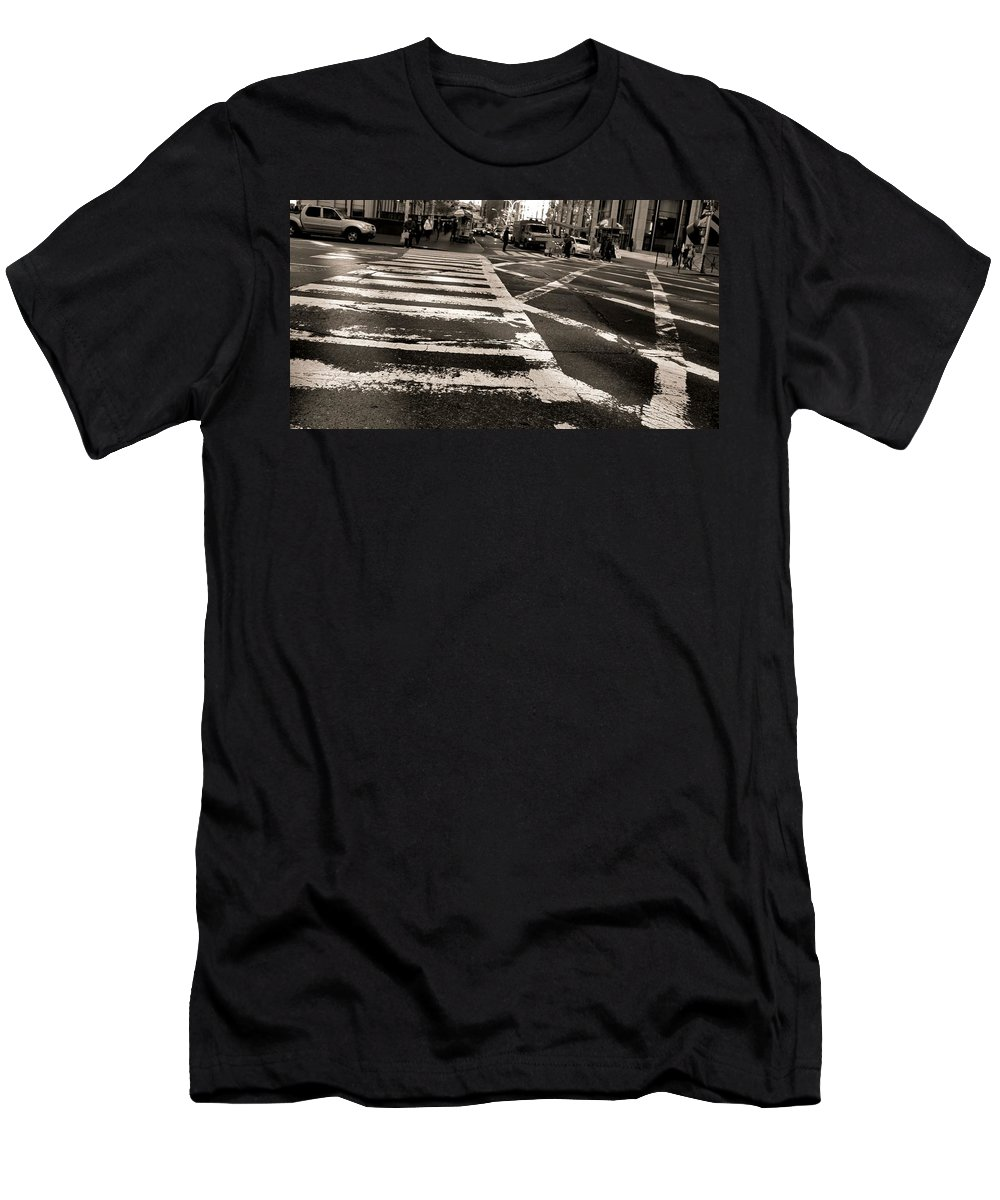 Crosswalk In New York City Men's T-Shirt (Athletic Fit) featuring the photograph Crosswalk In New York City by Dan Sproul