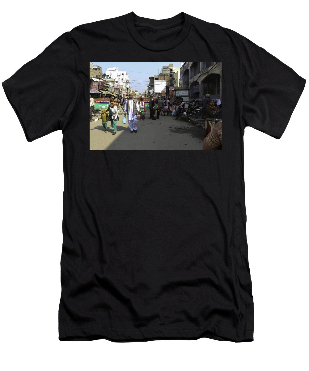 Amritsar Men's T-Shirt (Athletic Fit) featuring the photograph Crowded Street And Devotees In Front Of Golden Temple In Amritsar by Ashish Agarwal