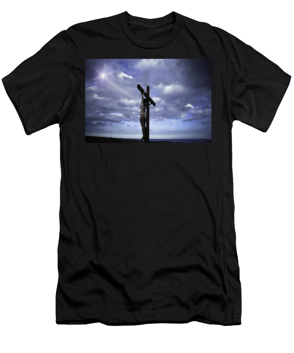 Landscape Men's T-Shirt (Athletic Fit) featuring the photograph Crucifix In The Light by Ramon Martinez