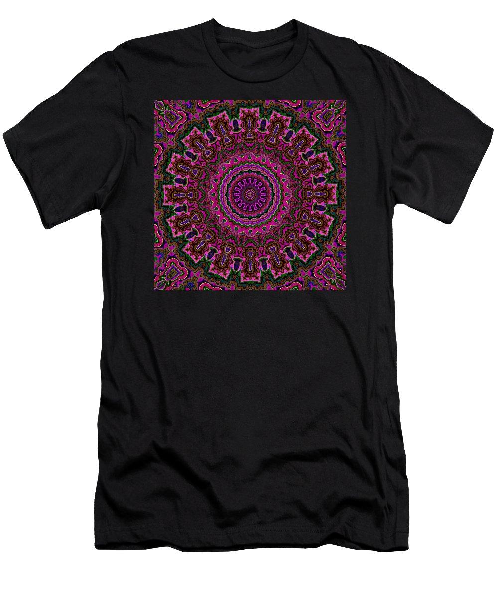 Mandala Men's T-Shirt (Athletic Fit) featuring the digital art Crushed Pink Velvet Kaleidoscope by Joy McKenzie