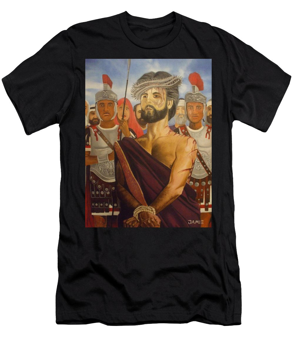 Mary Men's T-Shirt (Athletic Fit) featuring the painting Cuiseufiction Of Christ by Jamie Preston
