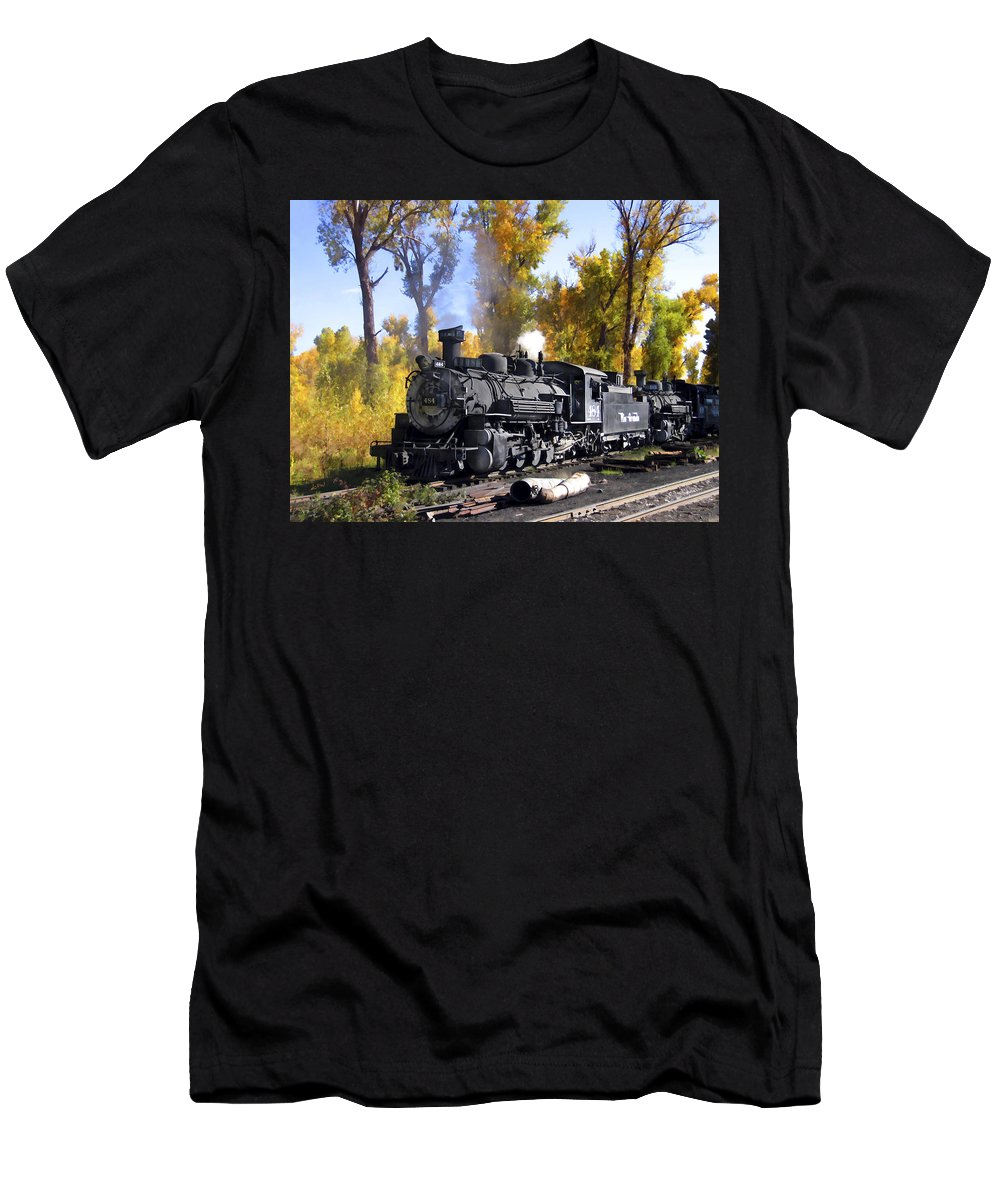 Train Men's T-Shirt (Athletic Fit) featuring the photograph Cumbres And Toltec Railroad by Kurt Van Wagner