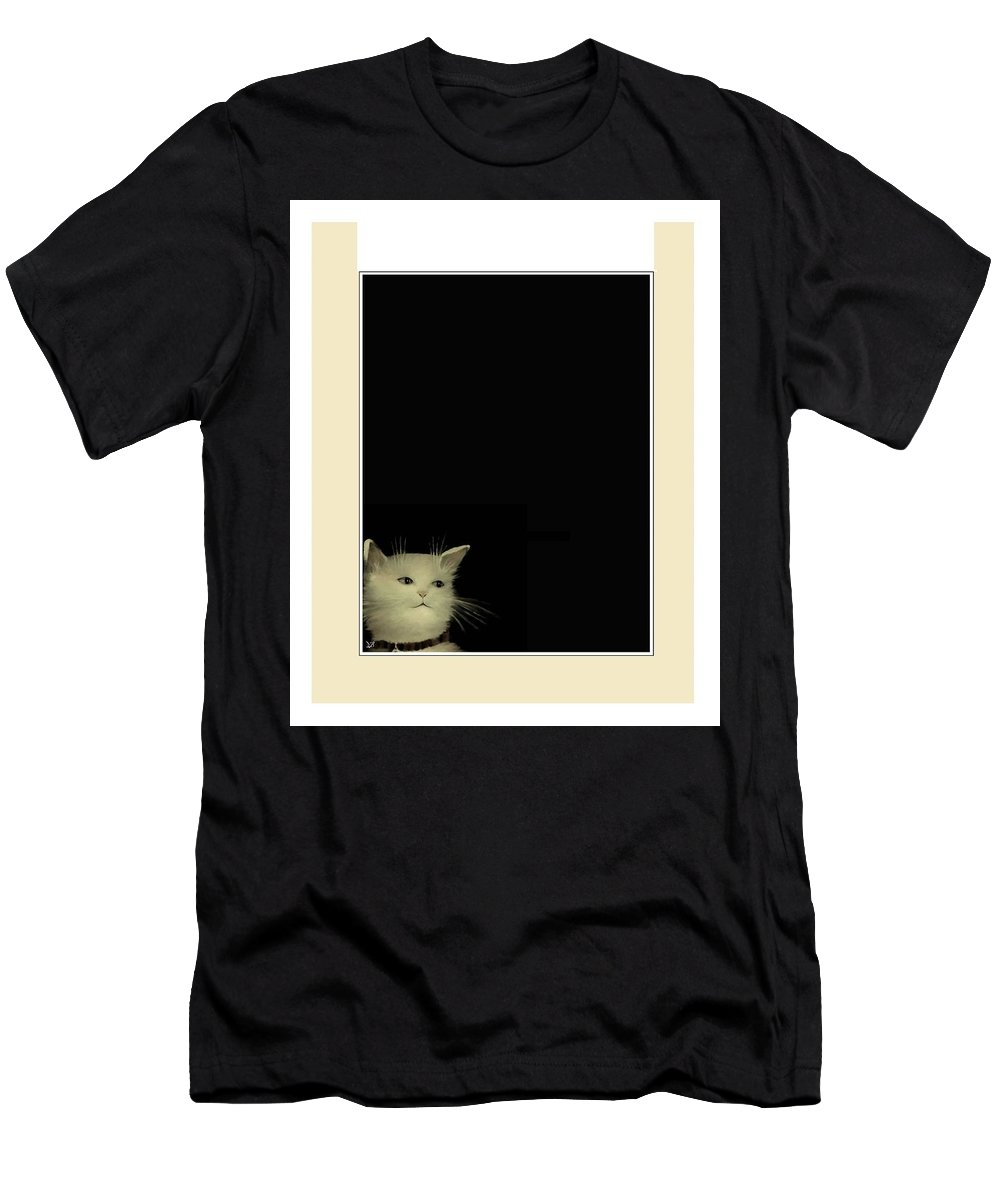 Diane Strain Men's T-Shirt (Athletic Fit) featuring the painting Curious Cat by Diane Strain