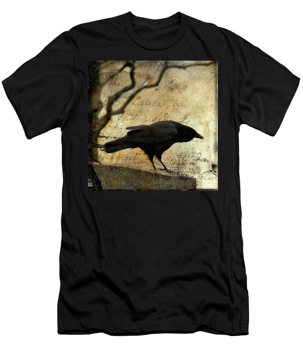 Blackbird Men's T-Shirt (Athletic Fit) featuring the digital art Curious Crow by Gothicrow Images