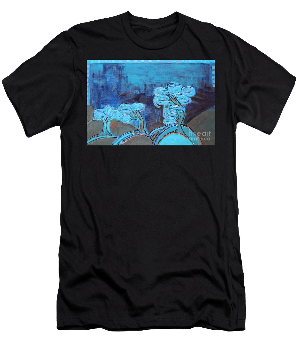 Acrylic Men's T-Shirt (Athletic Fit) featuring the painting Curly Trees In Blu by L Cecka