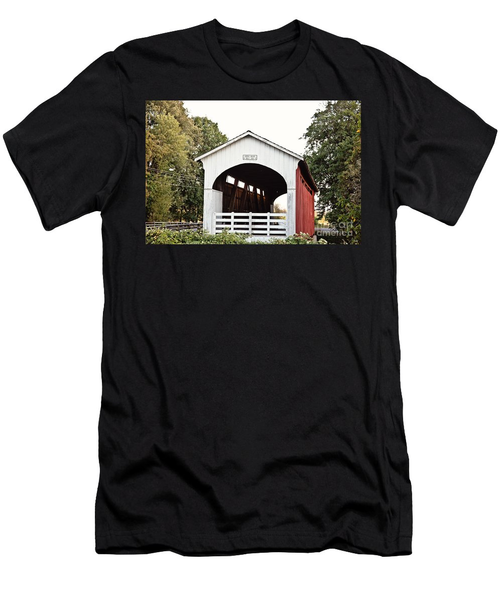 Currin Covered Bridge Men's T-Shirt (Athletic Fit) featuring the photograph Currin Covered Bridge by Scott Pellegrin