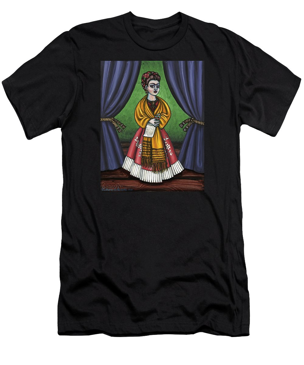 Folk Art Men's T-Shirt (Athletic Fit) featuring the painting Curtains For Frida by Victoria De Almeida