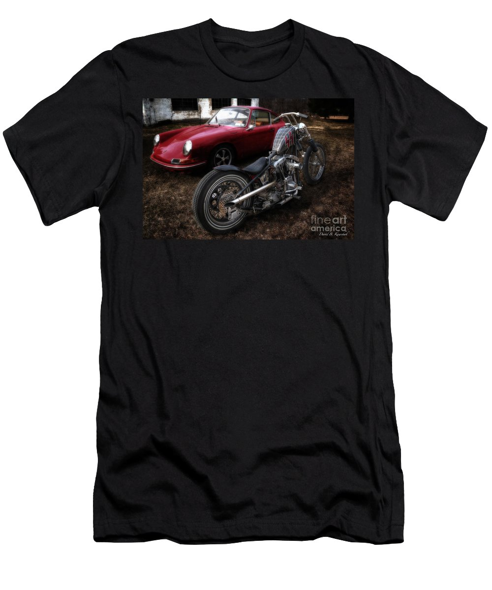 Custom Bike Men's T-Shirt (Athletic Fit) featuring the photograph Custom Bike And Porsche by David B Kawchak Custom Classic Photography