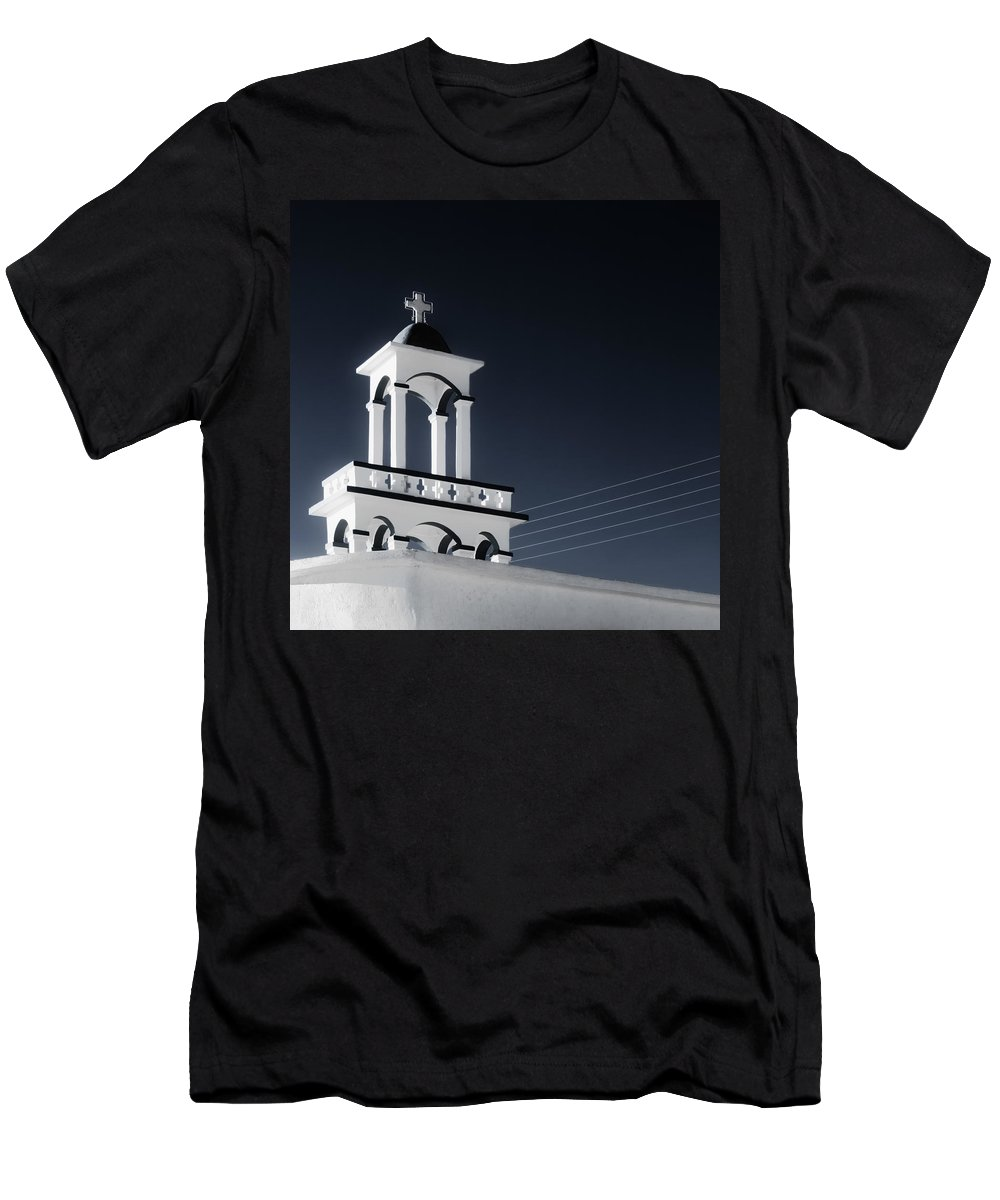Cyclades Men's T-Shirt (Athletic Fit) featuring the photograph Cyclades Greece - Andros Island Church by Alexander Voss