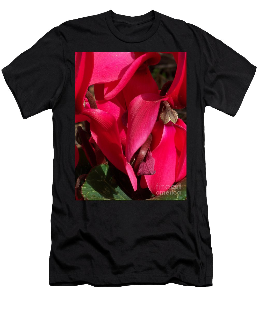 Flowers Men's T-Shirt (Athletic Fit) featuring the photograph Cyclamen by Kathy McClure