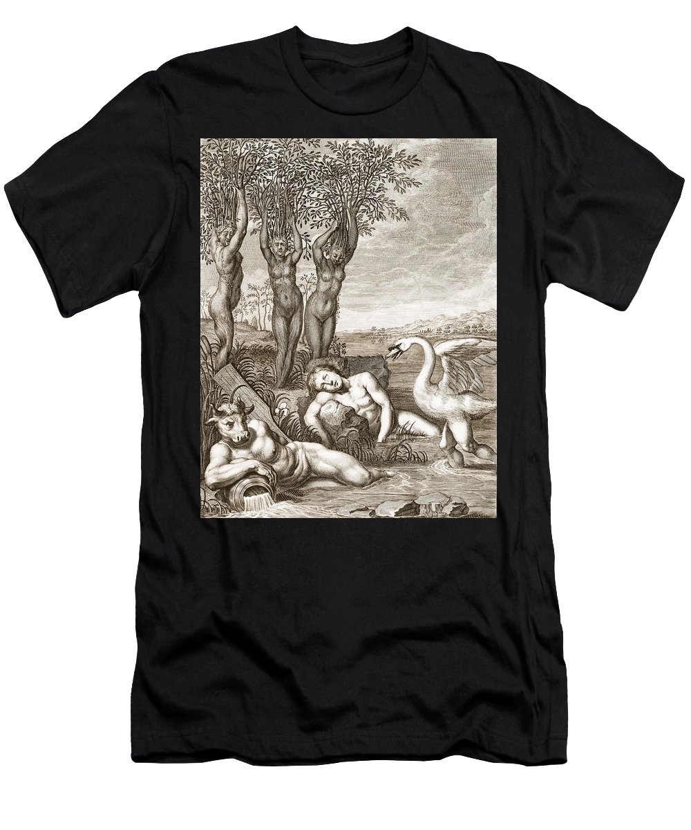 Metamorphosis Men's T-Shirt (Athletic Fit) featuring the drawing Cygnus Transformed Into A Swan by Bernard Picart