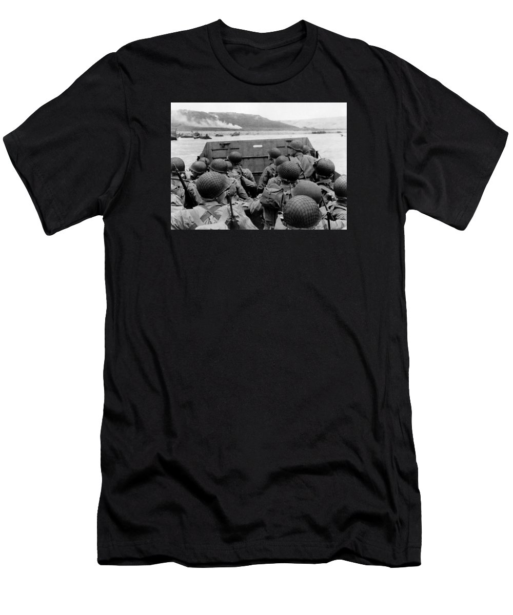 D Day T-Shirt featuring the painting D-day Soldiers In A Higgins Boat by War Is Hell Store