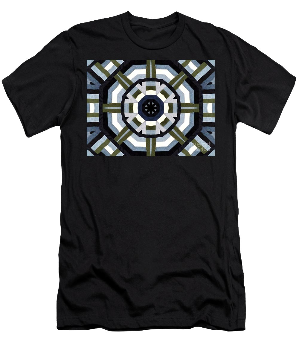 Denims Men's T-Shirt (Athletic Fit) featuring the photograph Daddy's Denims Quilt by Barbara Griffin