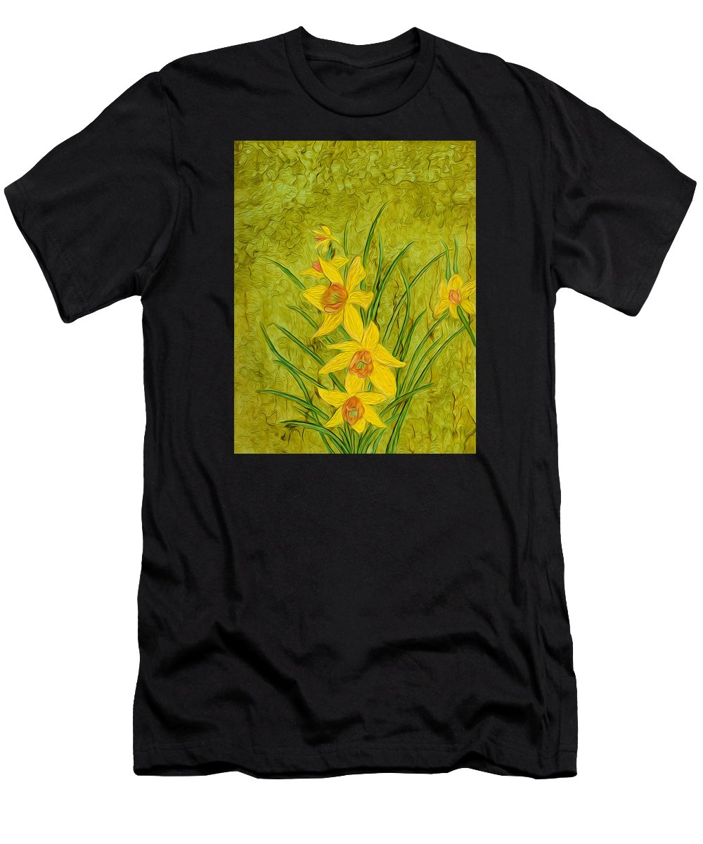 Alcohol Ink Men's T-Shirt (Athletic Fit) featuring the painting Daffodil by Laurie Williams