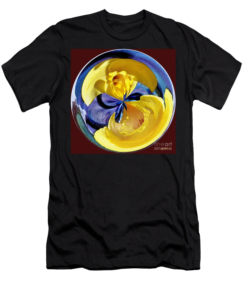 Daffodil Men's T-Shirt (Athletic Fit) featuring the photograph Daffodil Orb by Jeff McJunkin