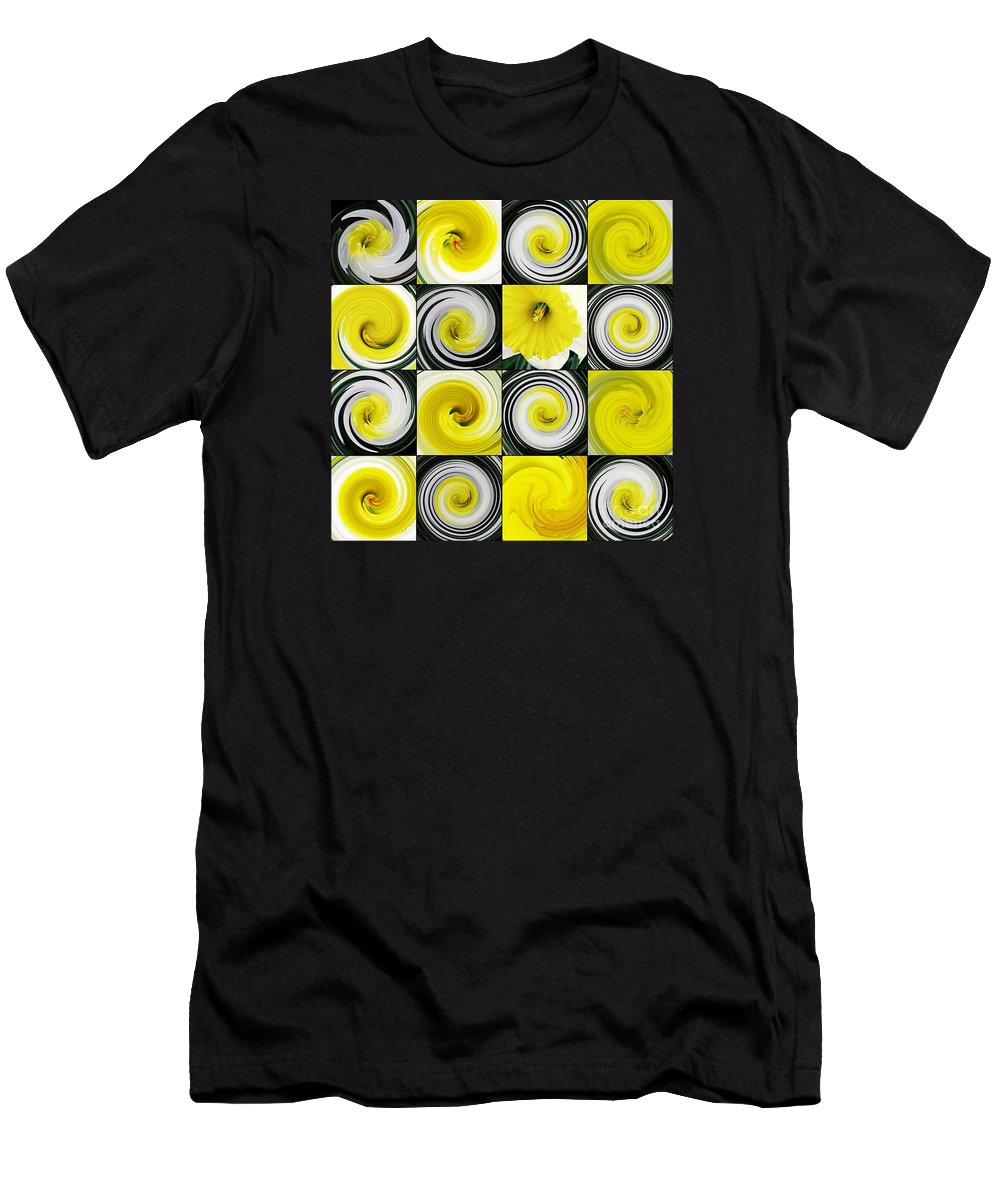 Daffodil Men's T-Shirt (Athletic Fit) featuring the digital art Daffodil Spring Mosaic by Sarah Loft