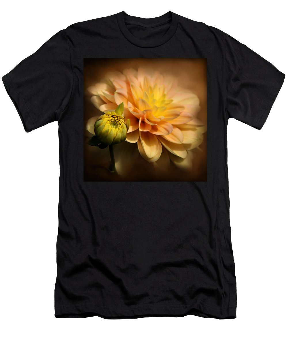 Dahlia Men's T-Shirt (Athletic Fit) featuring the photograph Dahlia Hypnosis by Sally Bauer